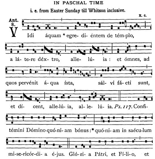 Trecho do Liber usualis - notação gregoriana moderna