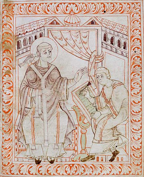 Gregório ditando os cânticos a um escriba - Antifonário de Hartker