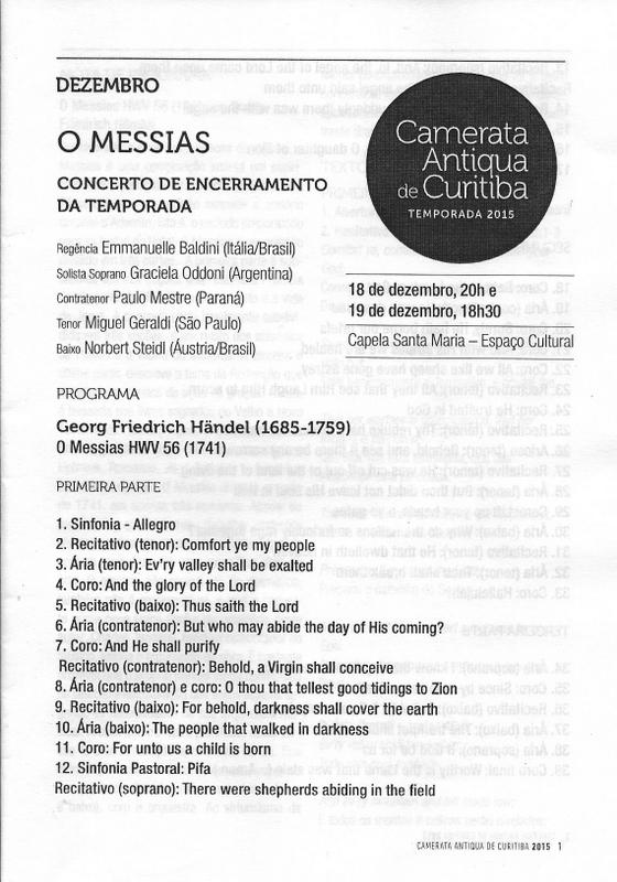 Primeira página do programa da Camerata - Haendel, Messias