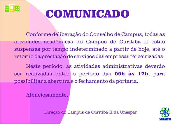 Direção da FAP avisa sobre atividades acadêmicas paralisadas