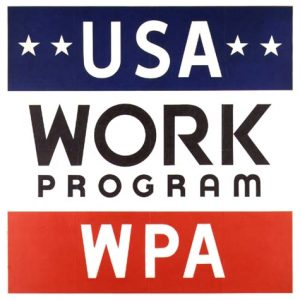 Símbolo da agência governamental Administração para o Progresso do Trabalho (WPA na sigla em inglês)