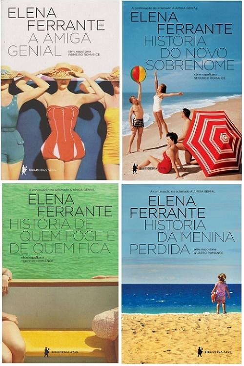 Capa dos livros Série Napolitana, de Elena Ferrante
