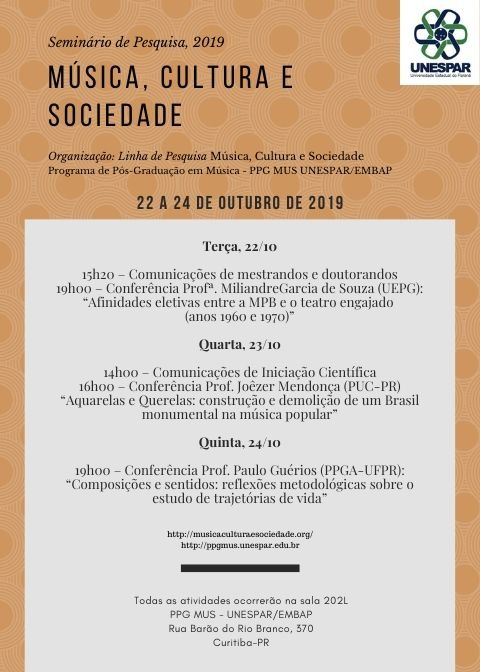 Divulgação do Seminário de Pesquisa Música, Cultura e Sociedade 2019